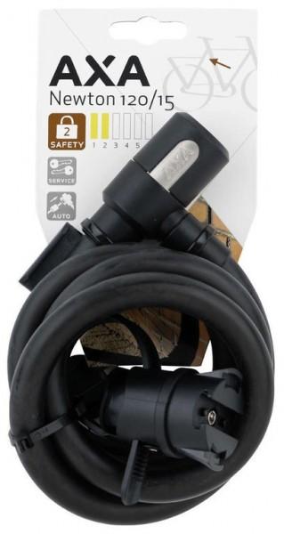 AXA Newton 120/15 Spiralkabelschloss- Länge 120cm- Ø15mm- schwarz