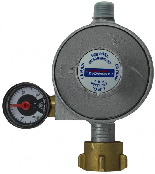 CAMPINGAZ Gasdruckregler 1,5 kg/h- 50mbar mit Manometer/Sicherheitsventil