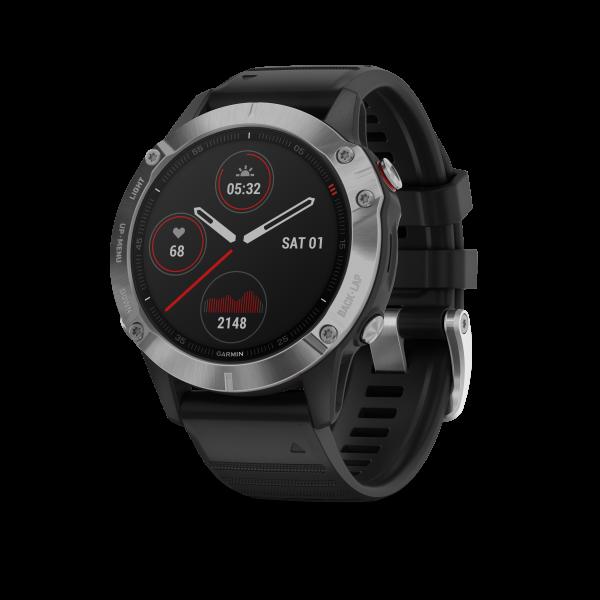GARMIN Fenix 6 Silber Smartwatch mit schwarzem Armband