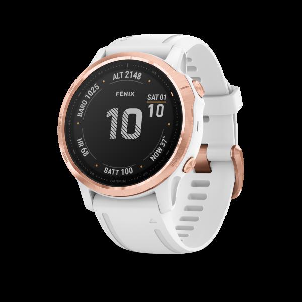 GARMIN Fenix 6S Pro - Roségold Smartwatch mit weißem Armband