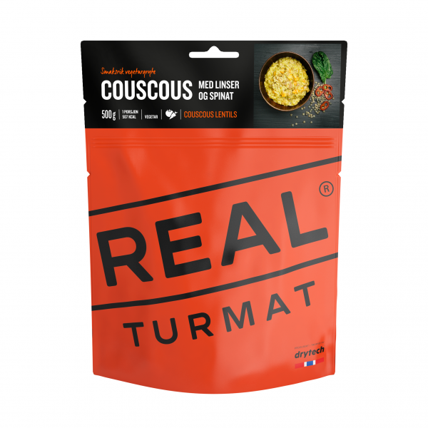 REAL TURMAT Couscous mit Linsen und Spinat - Expeditionsnahrung - 10 Pack