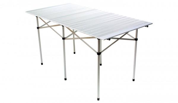 BASIC NATURE Travelchair Campingtisch Rolltisch gross - silber