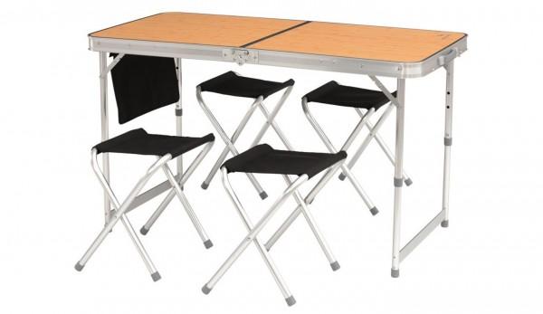 EASY CAMP Belfort Picknick Tisch + 4 Stühle - 120 x 60 cm