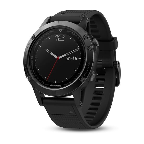 Garmin fenix 5 Saphir - Schwarz mit schwarzem Armband - GPS-Multisport