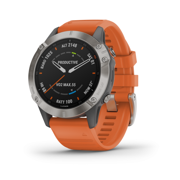 GARMIN Fenix 6 Pro Sapphire Titan Smartwatch mit orangefarbenem Armband