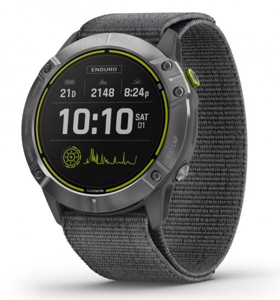 GARMIN Enduro Smartwatch- Grau/Silber- mit grauem UltraFit-Nylon-Armband