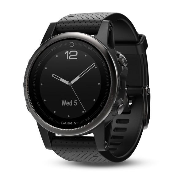 Garmin fenix 5S Saphir - Schwarz mit schwarzem Armband Multisport