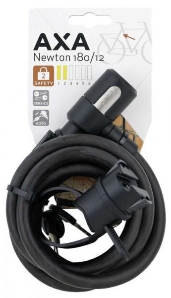 AXA Newton 180/12 Spiralkabelschloss- Länge 180cm- Ø12mm- schwarz