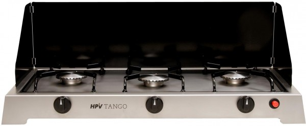HPV Tango Edelstahlkocher- 3-Flamm-Gaskocher mit Zündsicherung- 50mbar- 3 x 2,5kW