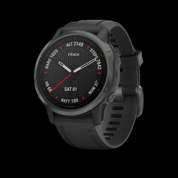 GARMIN Fenix 6S Sapphire schwarzes DLC mit schwarzem Armband